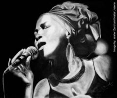 Charcoal drawing of Mingas by Walter Zand (original size 1,200x850mm) based on photo by Naita Ussene.