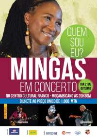 Poster: Mingas Concert: 'Quem sou eu?' at Centro Cultural Franco-Moçambicano in Maputo, Friday October 21, 2016 at 8:30 PM