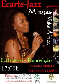 Poster: Mingas concert with Ecarte-Jazz at Museu de História Natural in Maputo