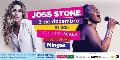 Poster: Joss Stone concert at Cinema Scala in Maputo with opening performance by Mingas, Saturday, December 3, 2016 at 8 PM